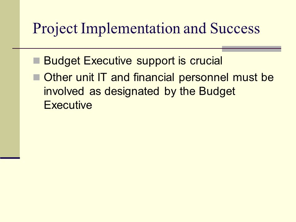 Project Implementation and Success Budget Executive support is crucial Other unit IT and financial personnel must be involved as designated by the Budget Executive