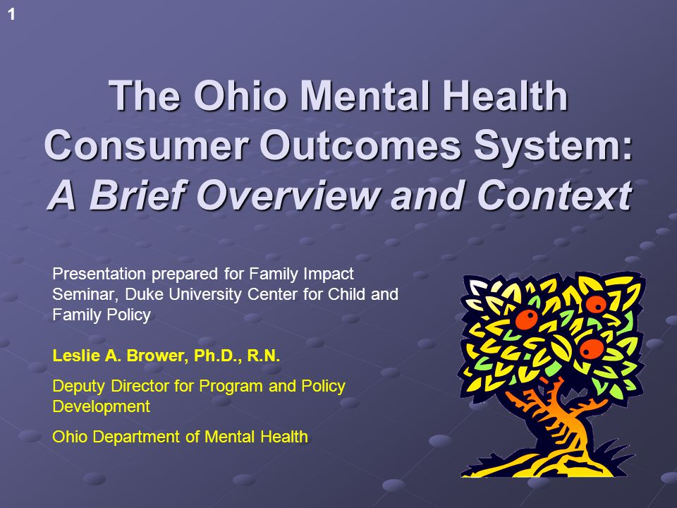 1 The Ohio Mental Health Consumer Outcomes System: A Brief Overview and Context Presentation prepared for Family Impact Seminar, Duke University Center for Child and Family Policy Leslie A.