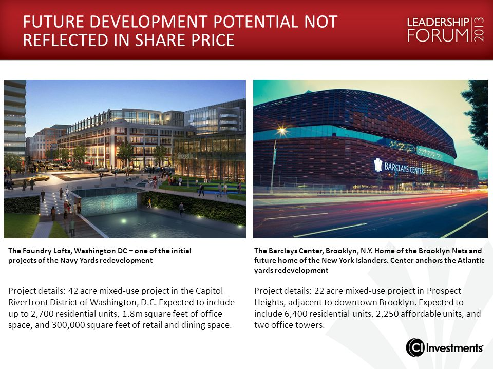 FUTURE DEVELOPMENT POTENTIAL NOT REFLECTED IN SHARE PRICE The Foundry Lofts, Washington DC – one of the initial projects of the Navy Yards redevelopme