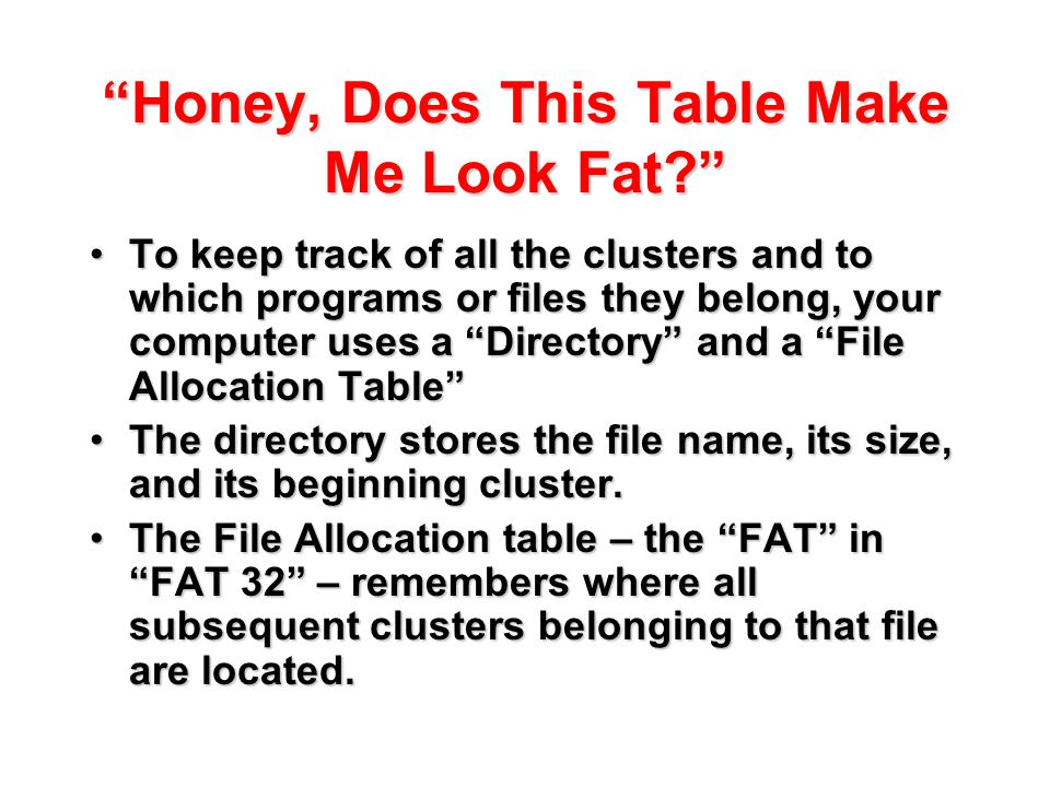 """Honey, Does This Table Make Me Look Fat?"" To keep track of all the clusters and to which programs or files they belong, your computer uses a ""Directo"
