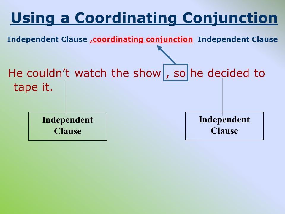 Using a Coordinating Conjunction Independent Clause,coordinating conjunction Independent Clause He couldn't watch the show, so he decided to tape it.