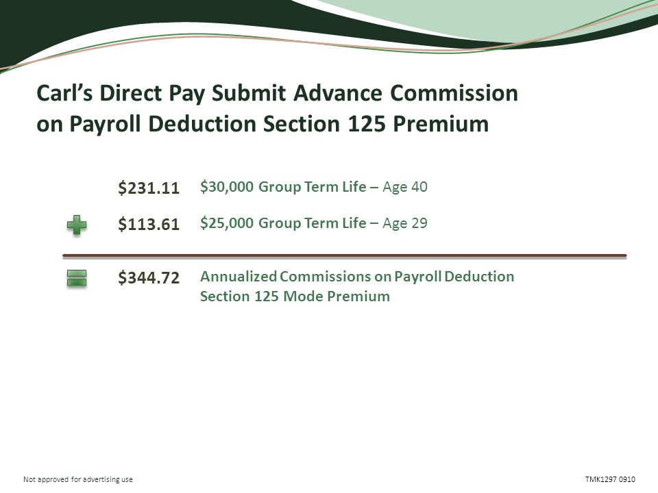 Not approved for advertising use TMK1297 0910 Carl's Direct Pay Submit Advance Commission on Payroll Deduction Section 125 Premium $231.11 $344.72 $113.61 $30,000 Group Term Life – Age 40 Annualized Commissions on Payroll Deduction Section 125 Mode Premium $25,000 Group Term Life – Age 29