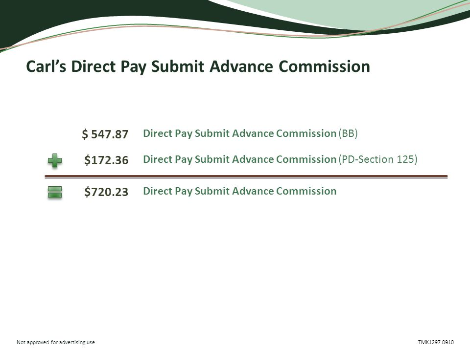 Not approved for advertising use TMK1297 0910 Carl's Direct Pay Submit Advance Commission $ 547.87 $720.23 $172.36 Direct Pay Submit Advance Commission (BB) Direct Pay Submit Advance Commission Direct Pay Submit Advance Commission (PD-Section 125)