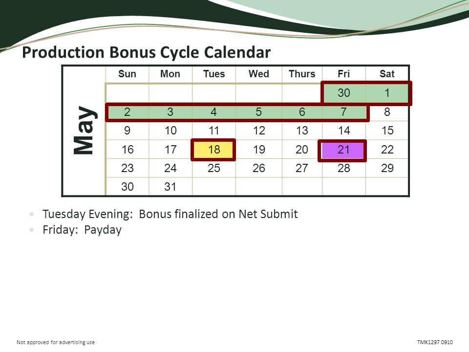 Not approved for advertising use TMK1297 0910 Production Bonus Cycle Calendar Tuesday Evening: Bonus finalized on Net Submit Friday: Payday May SunMonTuesWedThursFriSat 301 2345678 9101112131415 16171819202122 23242526272829 3031