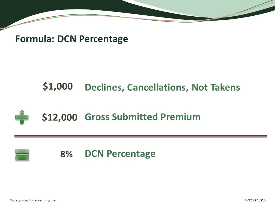 Not approved for advertising use TMK1297 0910 Formula: DCN Percentage Gross Submitted Premium Declines, Cancellations, Not Takens DCN Percentage $1,000 $12,000 8%