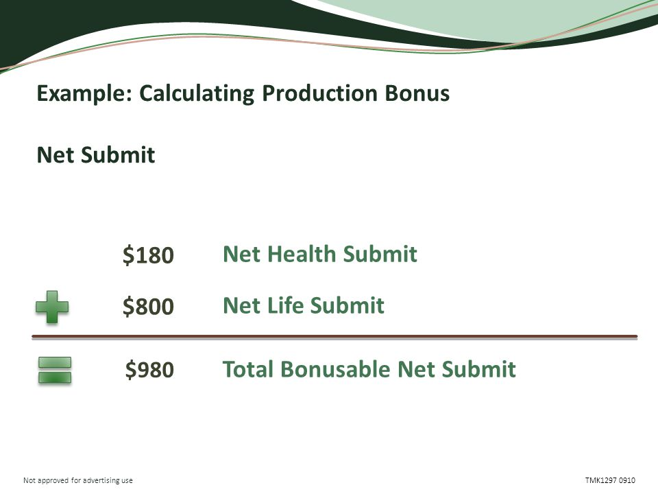 Not approved for advertising use TMK1297 0910 Example: Calculating Production Bonus Net Submit Net Health Submit Total Bonusable Net Submit $180 $980