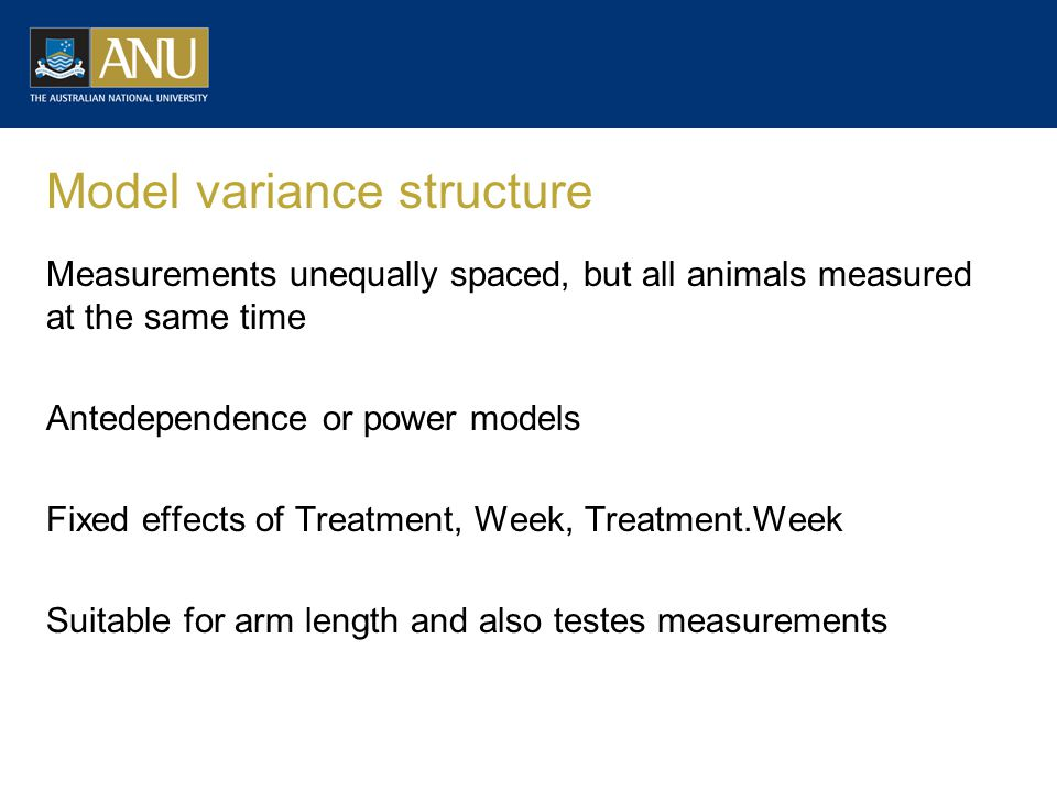 Model variance structure Measurements unequally spaced, but all animals measured at the same time Antedependence or power models Fixed effects of Trea