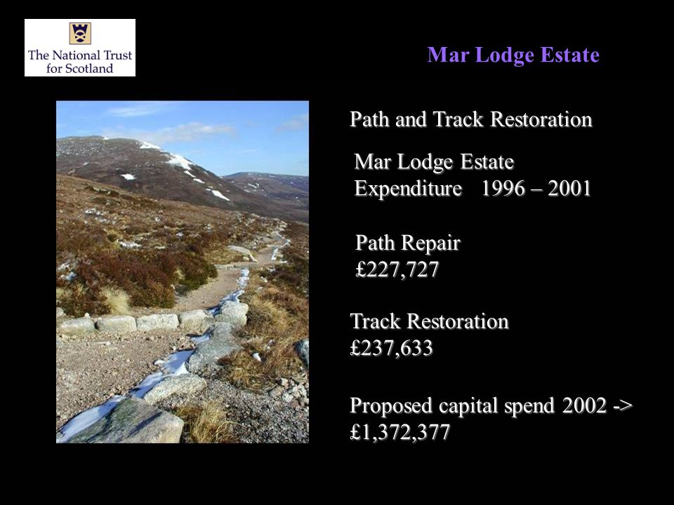 Mar Lodge Estate Path and Track Restoration Mar Lodge Estate Expenditure 1996 – 2001 Path Repair £227,727 Track Restoration £237,633 Proposed capital spend 2002 -> £1,372,377