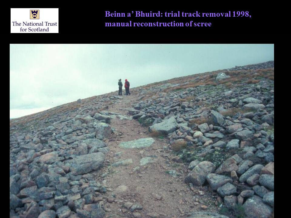 Beinn a' Bhuird: trial track removal 1998, manual reconstruction of scree