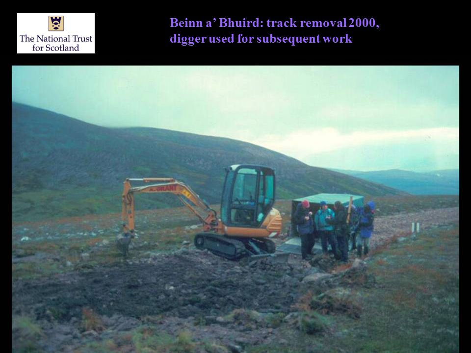 Beinn a' Bhuird: track removal 2000, digger used for subsequent work
