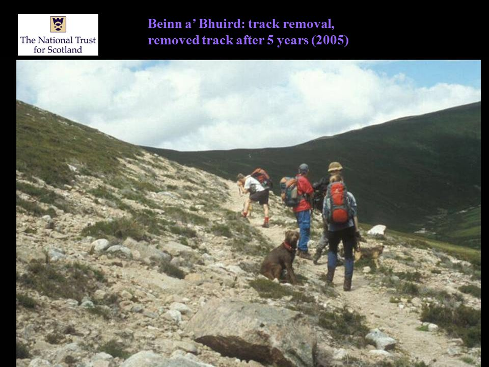 Beinn a' Bhuird: track removal, removed track after 5 years (2005)