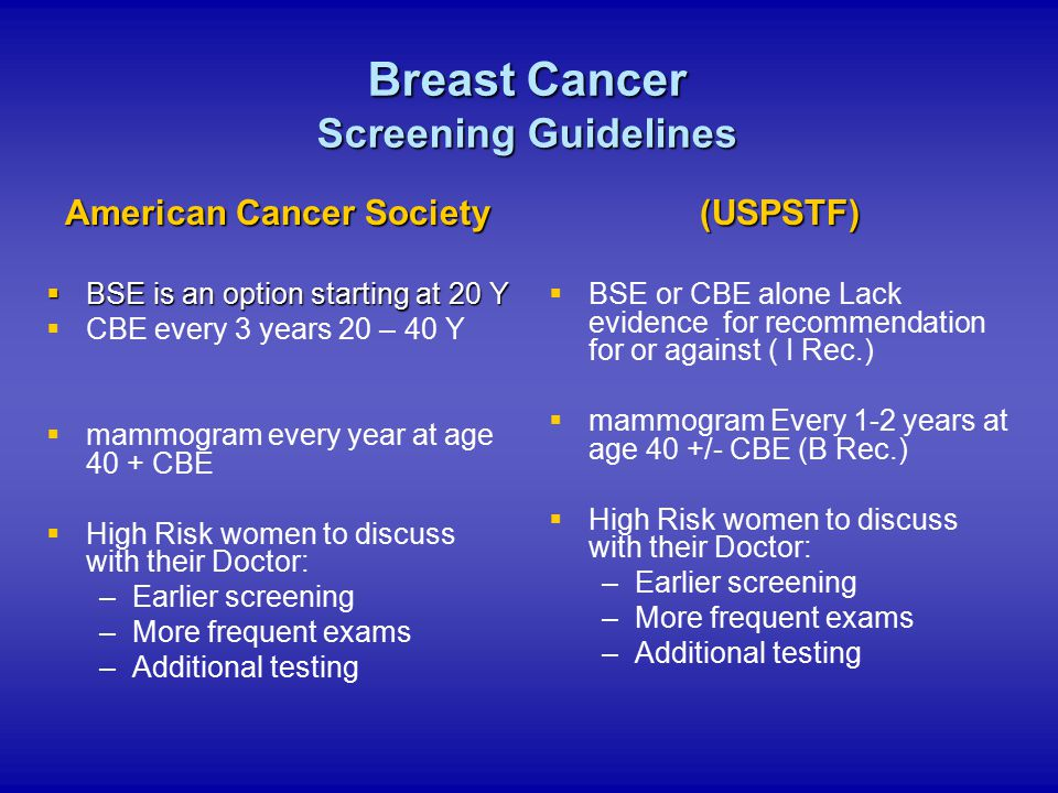 American Cancer Society Beginning at age 50, 1 of the 5 options :   Annual fecal occult blood test (FOBT) or fecal immunochemical test (FIT)   A flexible sigmoidoscopy (FSIG) every 5 years   Annual FOBT or FIT and flexible sigmoidoscopy every 5 years*   A double-contrast barium enema every 5 years   A colonoscopy every 10 years *Combined testing is preferred over either annual FOBT or FSIG every 5 years alone.