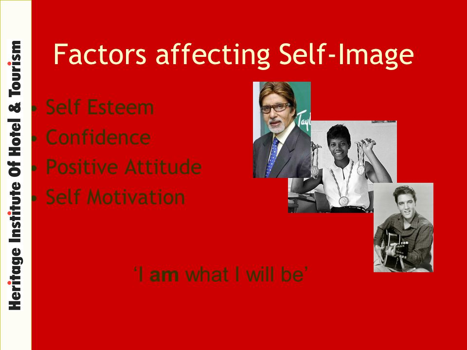 Factors affecting Self-Image Self Esteem Confidence Positive Attitude Self Motivation 'I am what I will be'