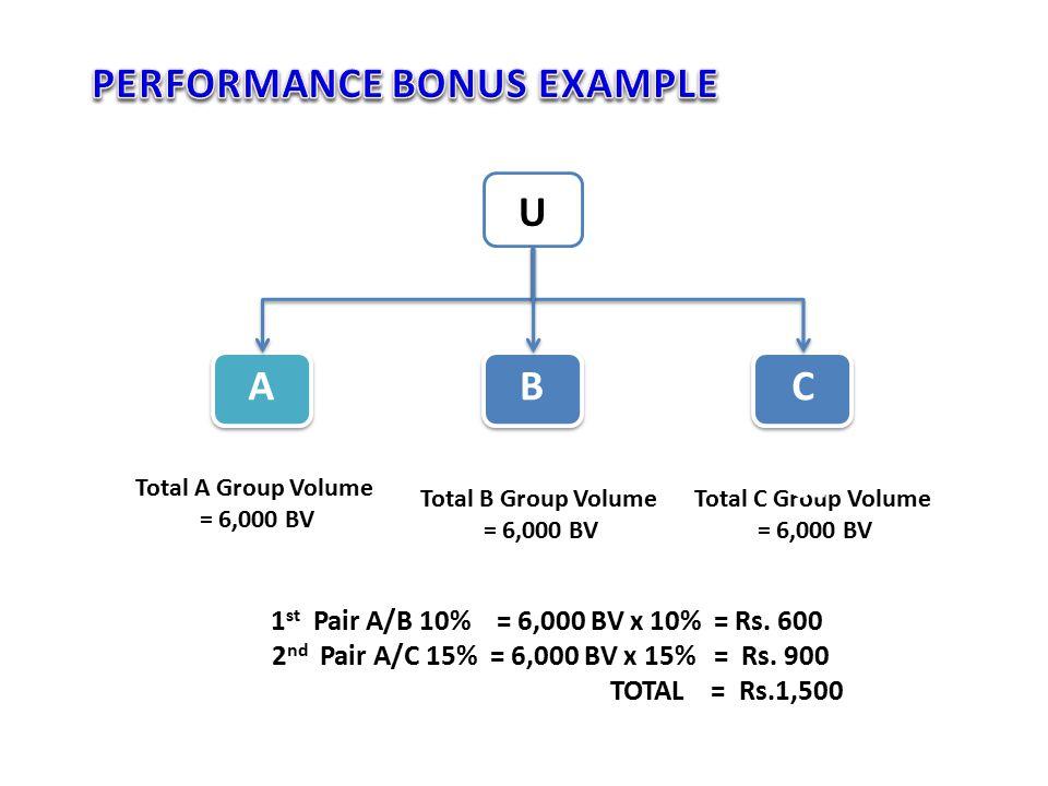 TypeQtyBV%Bonus Sales Bonus318,000100%Rs.18,000 Performance Bonus 1 st Pair6,00010%Rs.