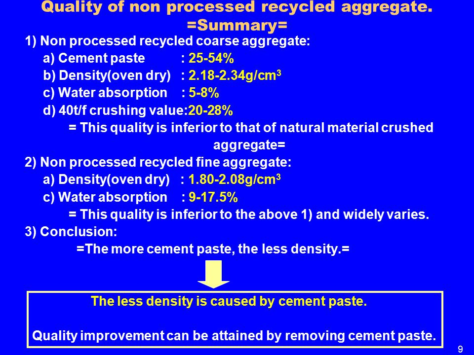 Quality of non processed recycled aggregate.