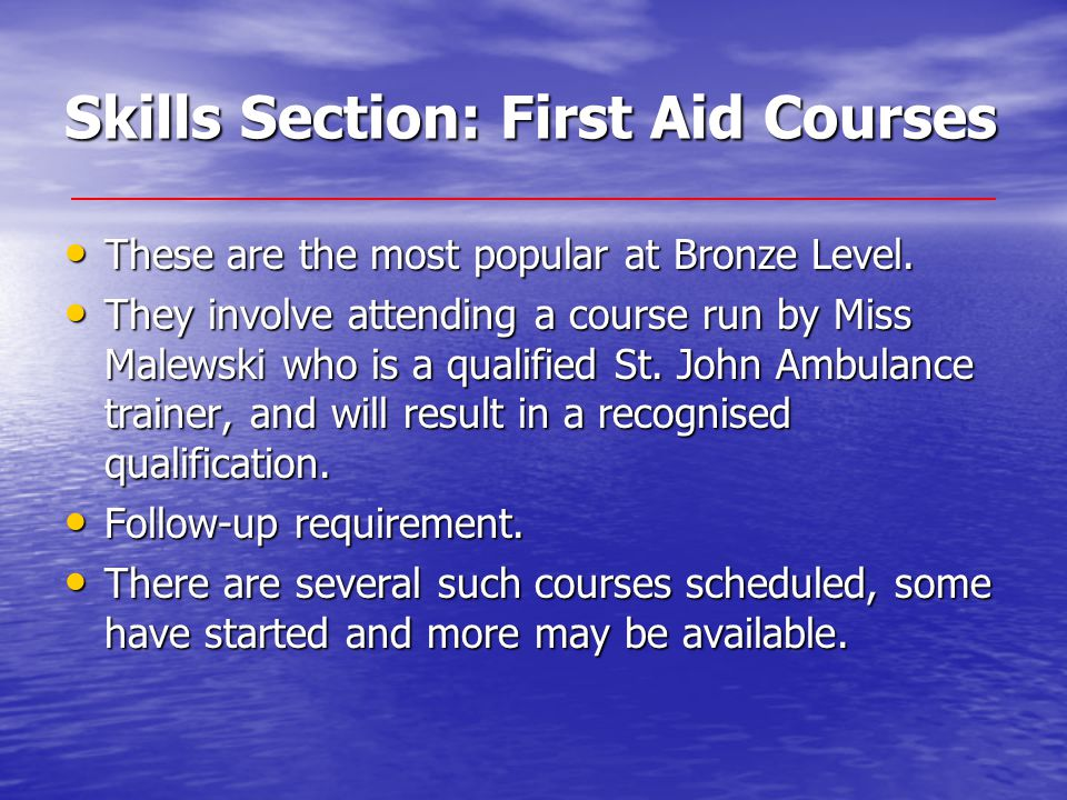 Skills Section: First Aid Courses These are the most popular at Bronze Level.