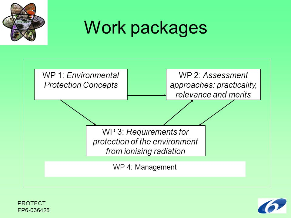 PROTECT FP6-036425 Work packages WP 1: Environmental Protection Concepts WP 2: Assessment approaches: practicality, relevance and merits WP 3: Requirements for protection of the environment from ionising radiation WP 4: Management