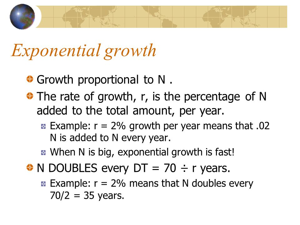 Exponential growth Growth proportional to N.