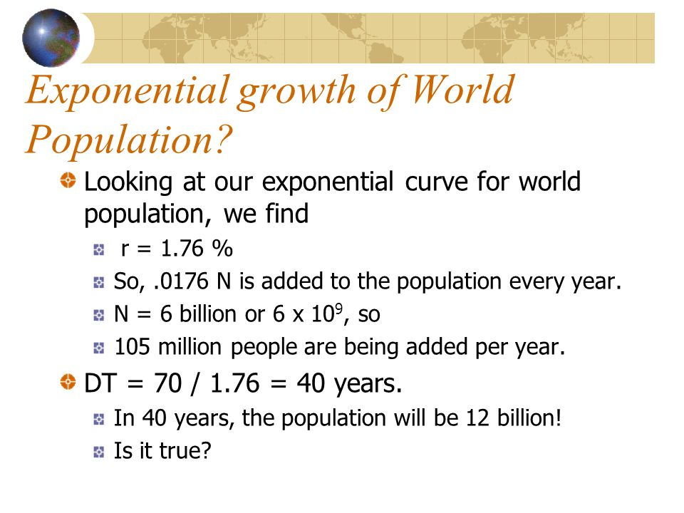 Exponential growth of World Population.