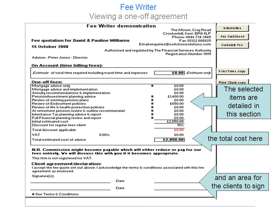 Fee Writer Viewing a one-off agreement By clicking Print Firms Copy you can print or save the quote to pdf.
