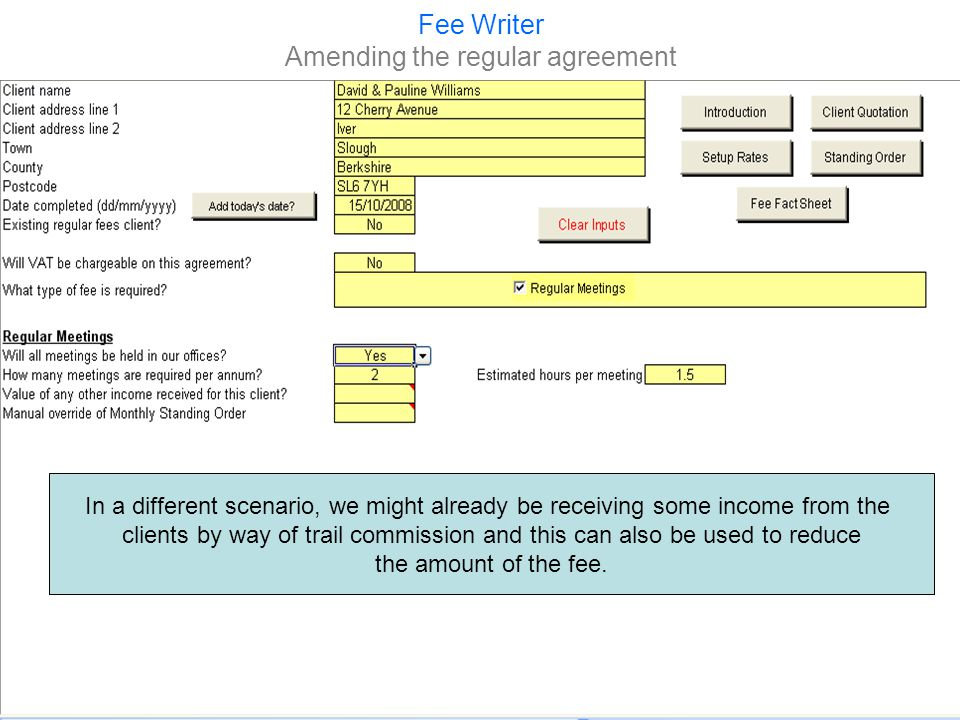 Fee Writer Amending the regular agreement