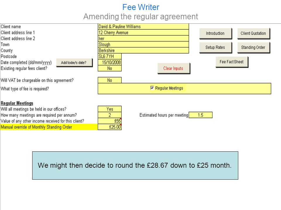 Fee Writer Viewing the amended agreement and this toois amended in the agreement and the Standing Order