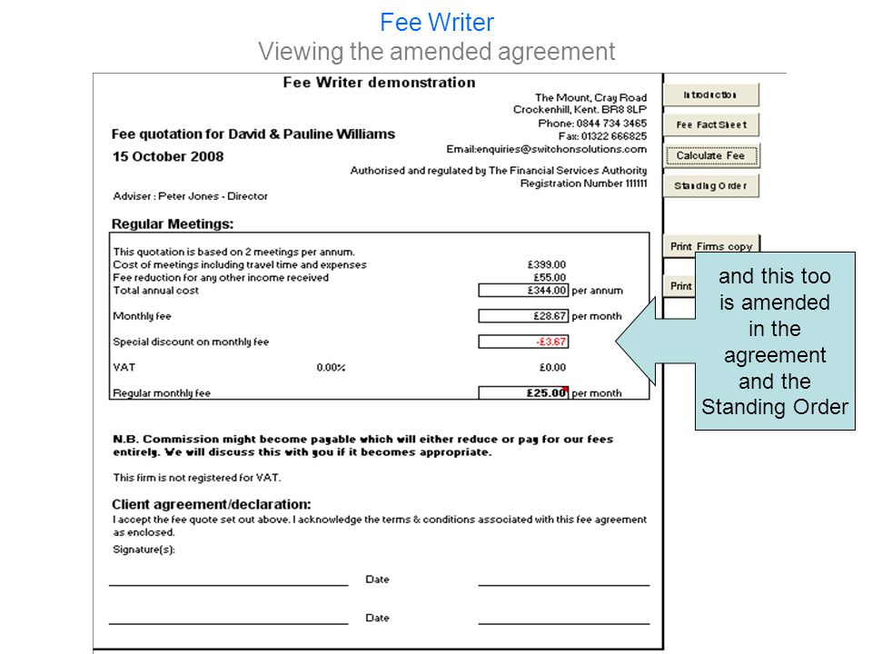 Fee Writer An Investment Management agreement If the clients had some money they wanted us to look after we would produce an Investment Management agreement.