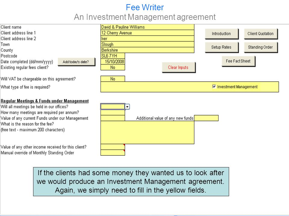 Fee Writer An Investment Management agreement