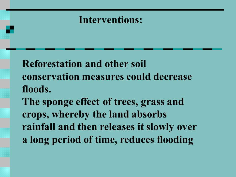 Interventions: Reforestation and other soil conservation measures could decrease floods.