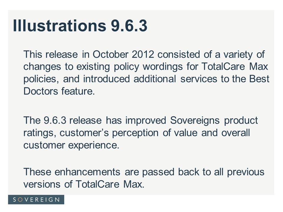 This release in October 2012 consisted of a variety of changes to existing policy wordings for TotalCare Max policies, and introduced additional services to the Best Doctors feature.