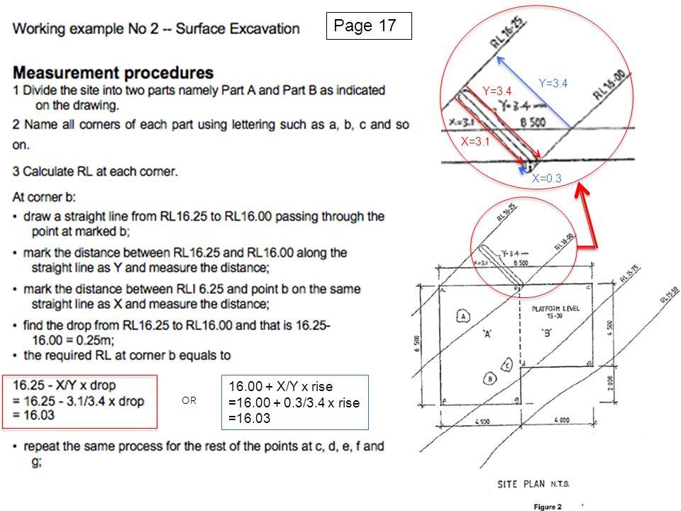 Y=3.4 X=0.3 X=3.1 Y=3.4 OR 16.00 + X/Y x rise =16.00 + 0.3/3.4 x rise =16.03 Page 17