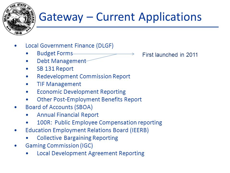 Gateway – Current Applications Local Government Finance (DLGF) Budget Forms Debt Management SB 131 Report Redevelopment Commission Report TIF Manageme