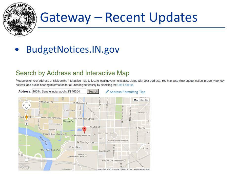 Gateway – Recent Updates BudgetNotices.IN.gov