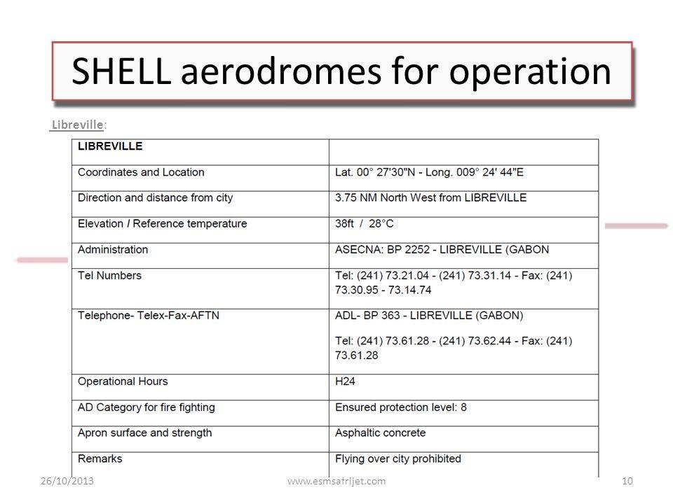 SHELL aerodromes for operation Libreville: 26/10/2013www.esmsafrijet.com10