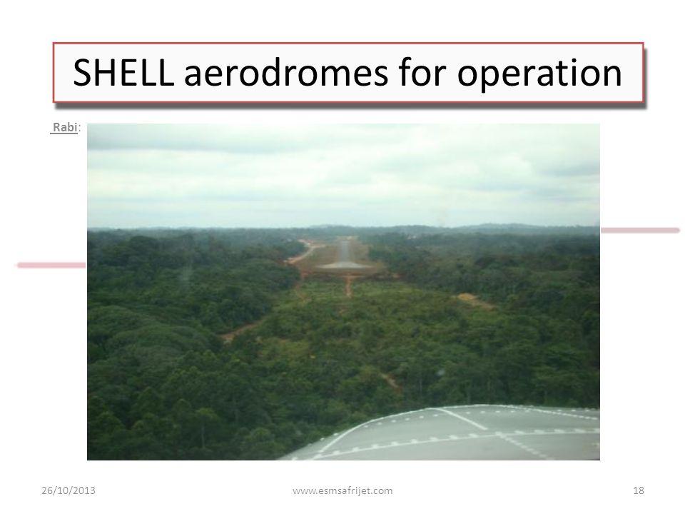 SHELL aerodromes for operation Rabi: 26/10/2013www.esmsafrijet.com18