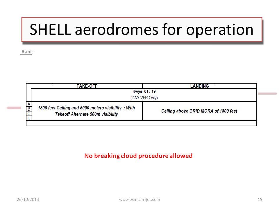 SHELL aerodromes for operation Rabi: 26/10/2013www.esmsafrijet.com19 No breaking cloud procedure allowed