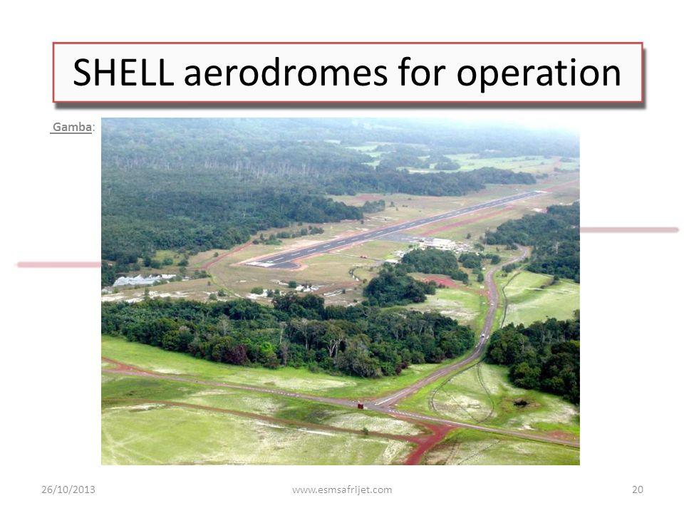 SHELL aerodromes for operation Gamba: 26/10/2013www.esmsafrijet.com20
