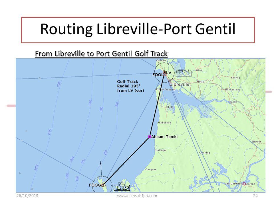 From Libreville to Port Gentil Golf Track 26/10/2013www.esmsafrijet.com24 Routing Libreville-Port Gentil