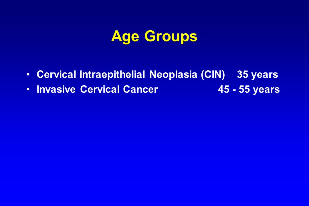 Age Groups Cervical Intraepithelial Neoplasia (CIN) 35 years Invasive Cervical Cancer 45 - 55 years