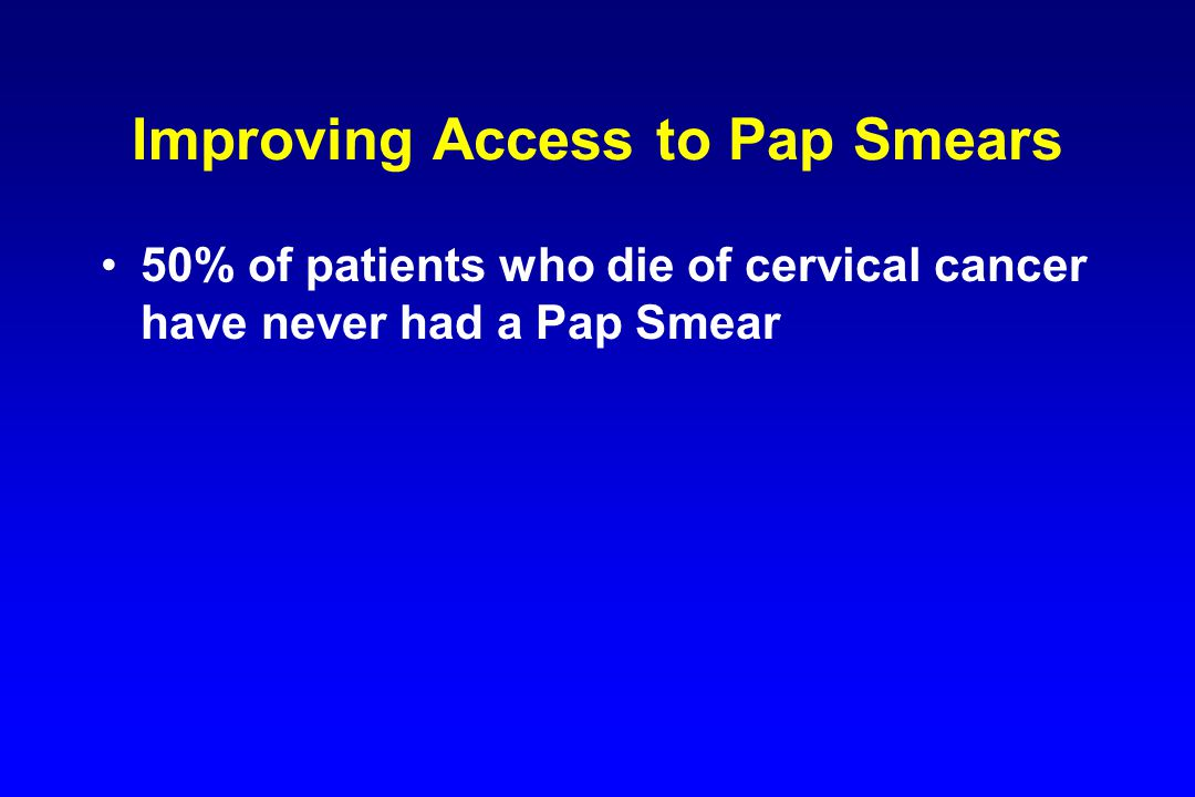 50% of patients who die of cervical cancer have never had a Pap Smear