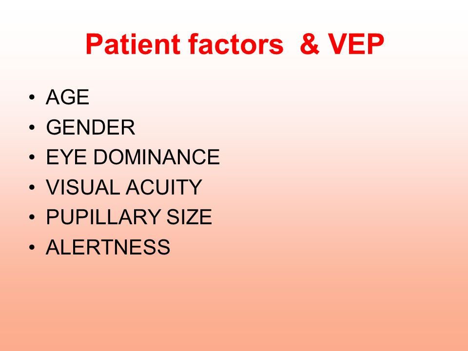 Patient factors & VEP AGE GENDER EYE DOMINANCE VISUAL ACUITY PUPILLARY SIZE ALERTNESS