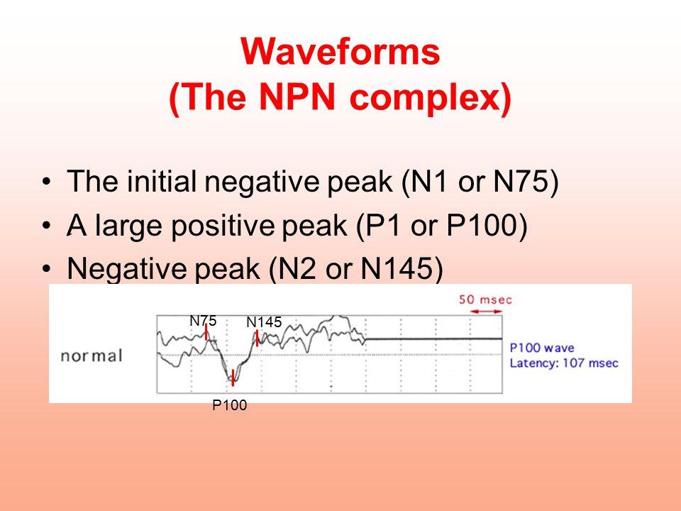 Waveforms (The NPN complex) The initial negative peak (N1 or N75) ِA large positive peak (P1 or P100) Negative peak (N2 or N145) N75 P100 N145