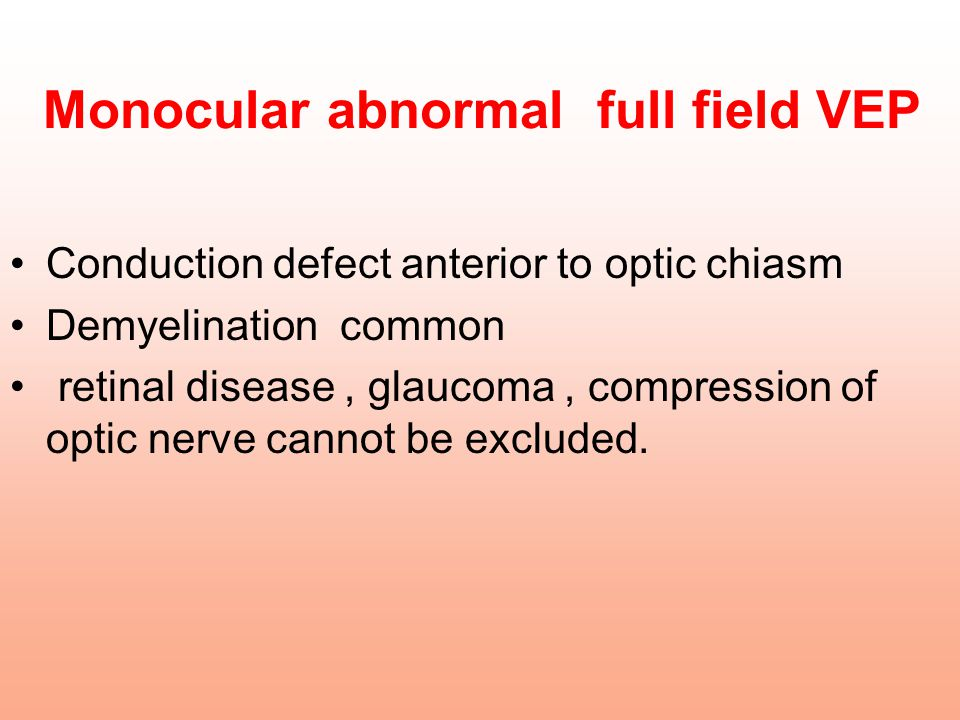 Monocular abnormal full field VEP Conduction defect anterior to optic chiasm Demyelination common retinal disease, glaucoma, compression of optic nerv