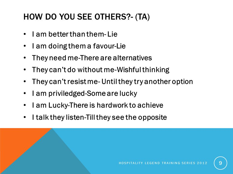 HOW DO YOU SEE OTHERS?- (TA) I am better than them- Lie I am doing them a favour-Lie They need me-There are alternatives They can't do without me-Wish