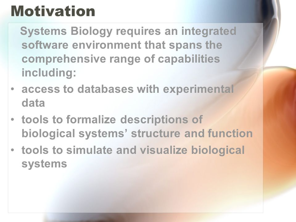Results BioUML is designed as a common purpose framework for systems biology providing formalized graphic notation to describe the structure and function of biological systems, their visualization and simulation as well as access to databases with relevant experimental data.