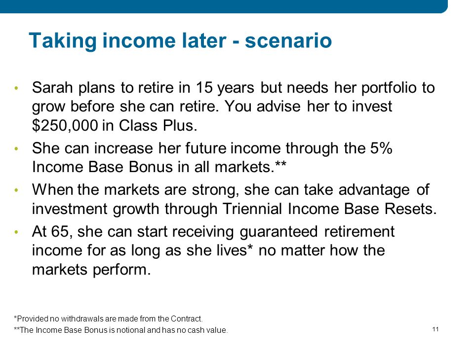 11 Taking income later - scenario Sarah plans to retire in 15 years but needs her portfolio to grow before she can retire.