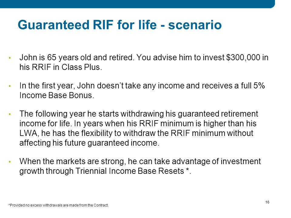 16 Guaranteed RIF for life - scenario John is 65 years old and retired.