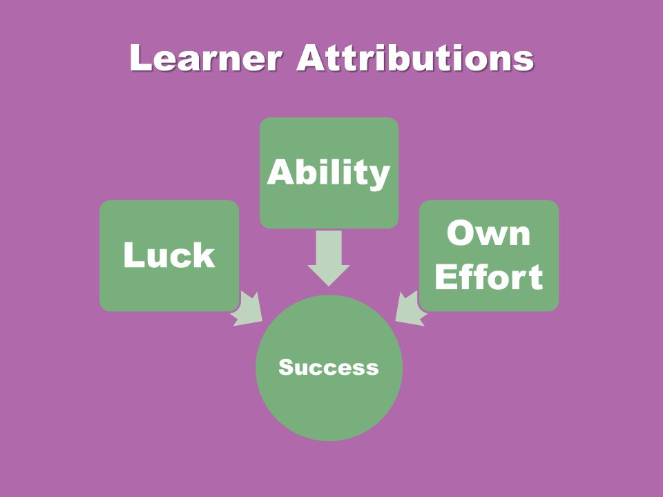 Learner Attributions Success LuckAbility Own Effort