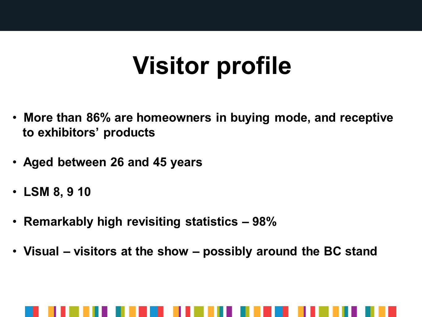Visitor profile More than 86% are homeowners in buying mode, and receptive to exhibitors' products Aged between 26 and 45 years LSM 8, 9 10 Remarkably high revisiting statistics – 98% Visual – visitors at the show – possibly around the BC stand
