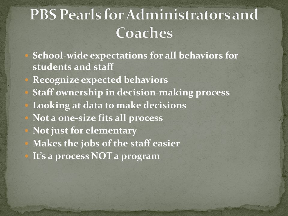 School-wide expectations for all behaviors for students and staff Recognize expected behaviors Staff ownership in decision-making process Looking at d
